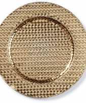 Kaarsenbord plateau goud gevlochten 33 cm rond trend