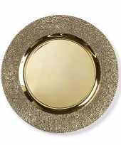 Kaarsenbord plateau goud structuur 33 cm rond trend