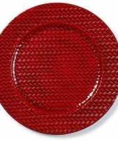 Kaarsenbord plateau rood gevlochten 33 cm rond trend