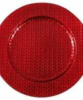 Kaarsenbord plateau rood vlechtpatroon 33 cm rond trend