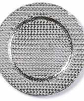 Kaarsenbord plateau zilver gevlochten 33 cm rond trend