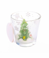 Kaarsje van een kerstboompje in glas 6 5 cm trend