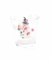 Kaarsje van een sneeuwpoppetje in glas 6 5 cm trend