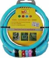Kabelslot met cijferslot blauw 10 x 650 mm trend