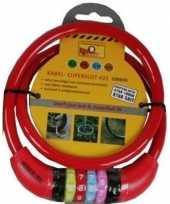 Kabelslot met cijferslot rood 10 x 650 mm trend