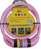 Kabelslot met cijferslot roze 10 x 650 mm trend