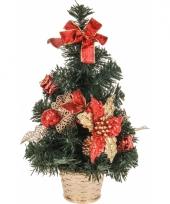 Kantoor kerstboompje rode decoratie 40 cm trend
