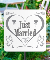 Karton tuinbord just married trend
