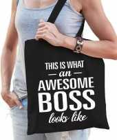 Katoenen cadeau tasje awesome boss zwart trend