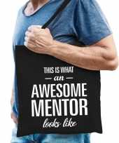 Katoenen cadeau tasje awesome mentor zwart trend