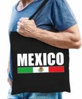 Katoenen mexicaans supporter tasje mexico zwart trend