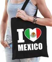 Katoenen mexicaans tasje i love mexico zwart trend