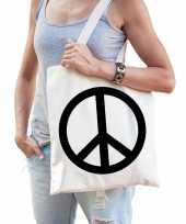 Katoenen tasje peace teken trend