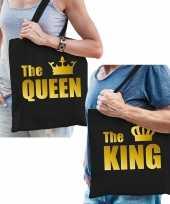 Katoenen tassen zwart met goud the queen the king volwassenen trend