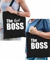 Katoenen tassen zwart the boss en the real boss volwassenen trend