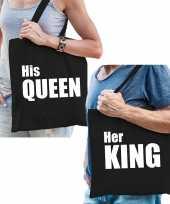 Katoenen tassen zwart wit his queen en her king volwassenen trend