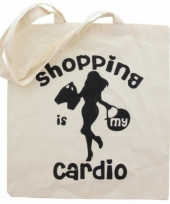 Katoenen tote bag cardio shopping trend