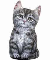 Katten poezen deurstopper grijze tabby 23 cm trend