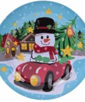Kerst bord met sneeuwpop 25 cm trend