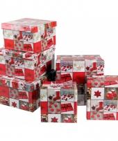 Kerst cadeaudoosje vierkant 18 cm trend
