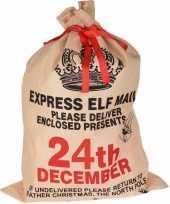 Kerst cadeauzak 24th december jute 100 cm trend