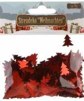 Kerst deco confetti rode kerstboompjes glimmend 15 gram trend