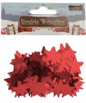 Kerst deco confetti rode sterretjes glimmend 15 gram trend