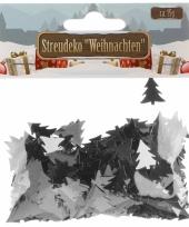 Kerst deco confetti zilveren kerstboompjes glimmend 15 gram trend