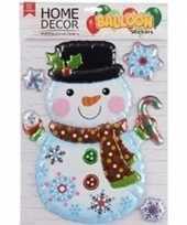 Kerst decoratie 3d raamstickers sneeuwpop 28 x 41 cm trend