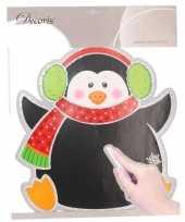 Kerst decoratie pinguin krijtbord sticker 31 x 38 cm trend