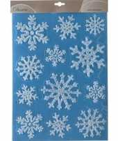 Kerst decoratie raamstickers glitter sneeuwvlokken 30 x 40 cm trend