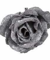 Kerst decoratie roos zilver glitter 9 cm trend