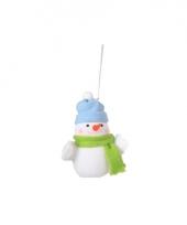 Kerst decoratie sneeuwpop 8 cm blauwe muts trend