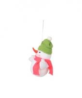 Kerst decoratie sneeuwpop 8 cm groene muts trend
