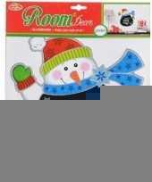 Kerst decoratie sneeuwpop krijtbord sticker 31 x 38 cm trend