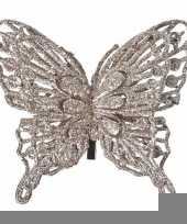 Kerst decoratie vlinder champagne 13 x 11 cm trend