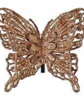 Kerst decoratie vlinder koper 13 x 11 cm trend