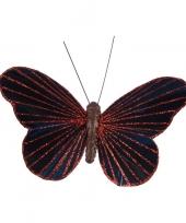 Kerst decoratie vlinder zwart rood op clip 10 cm trend