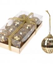 Kerst discoballen goud 4 cm trend