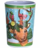 Kerst drinkbeker rendier 11 cm trend