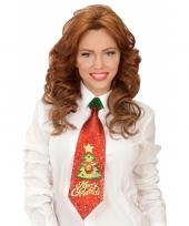 Kerst glitter stropdas kerstboom met belletje trend