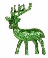 Kerst groene rendier vensterbank versiering 10 cm trend