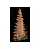 Kerst houten kerstboom koper met licht 39 cm trend