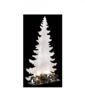 Kerst houten kerstboom wit met licht 36 cm trend