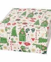 Kerst inpakpapier wit met bomen wanten print 200 x 70 cm trend