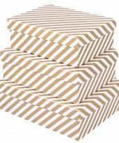 Kerst kado doosje gouden strepen 22 cm trend