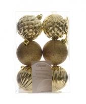 Kerst kerstballen mix goud 6 stuks trend