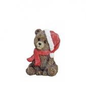 Kerst kerstbeertje zittend beeldje 12 cm trend