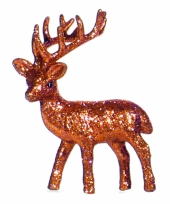 Kerst oranje rendier vensterbank versiering 10 cm trend