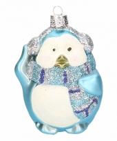 Kerst pinguin kerstbal blauw 4 stuks trend